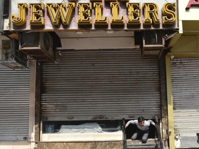 Jewellers on strike to protest against increased excise duty on gold at Karol bagh, in New Delhi.