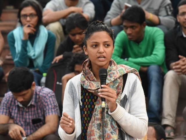 JNUSU vice-president Shehla Rashid speaks to a student gathering in front of Admin Building in the JNU campus in New Delhi.