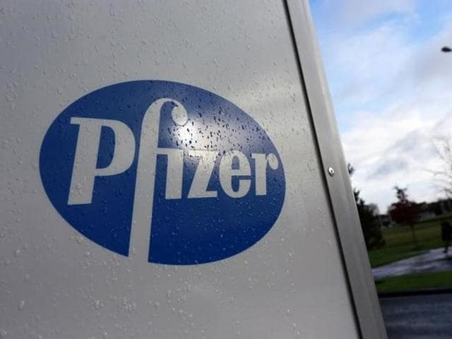 A company logo is seen at a Pfizer office in Dublin, Ireland November 24, 2015.