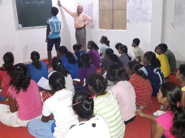 Members of the women's hockey team attend  an English class at Simdega in Jharkhand.