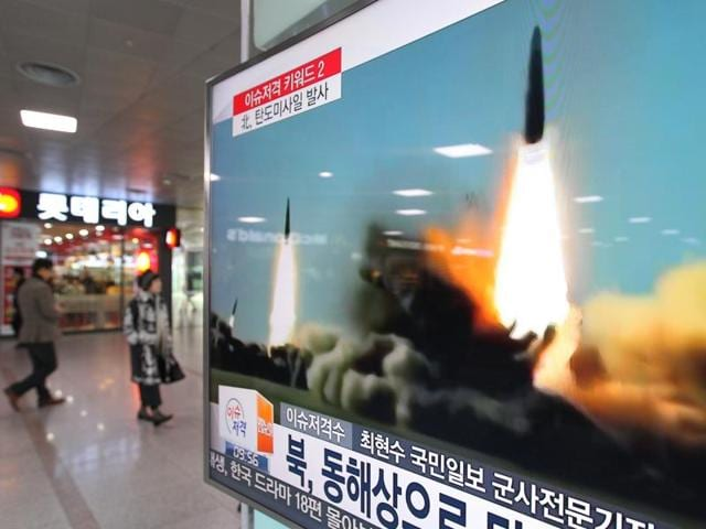 A television screen at the Seoul Railway Station shows file footage of a missile launch conducted by North Korea. Two short-range ballistic missiles were fired  into the sea by the Pyongyang administration on March 10, escalating tensions in the Korean peninsula.