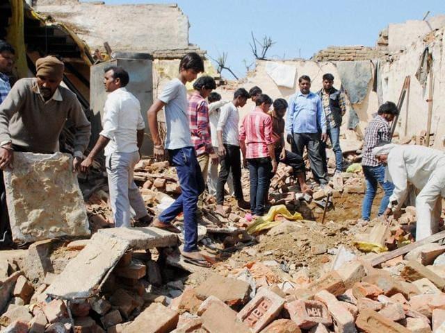 The site where the house in Kuri village under Kharkhauda block collapsed due to heavy rain on Sunday morning.