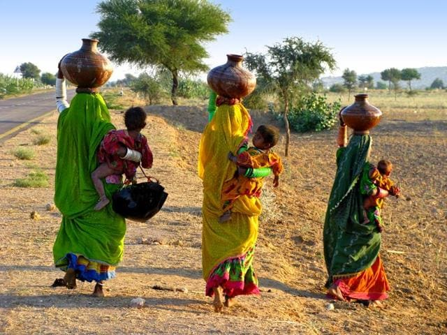 File photo of women in the Thar Desert in the Sindh province of Pakistan.