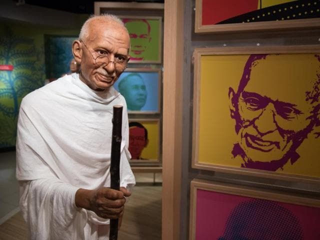 A waxwork of Mahatma Gandhi on display at Madame Tussauds in Bangkok, Thailand.