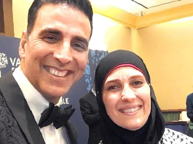 Akshay Kumar with Palestinian teacher Hanan Al Hroub.
