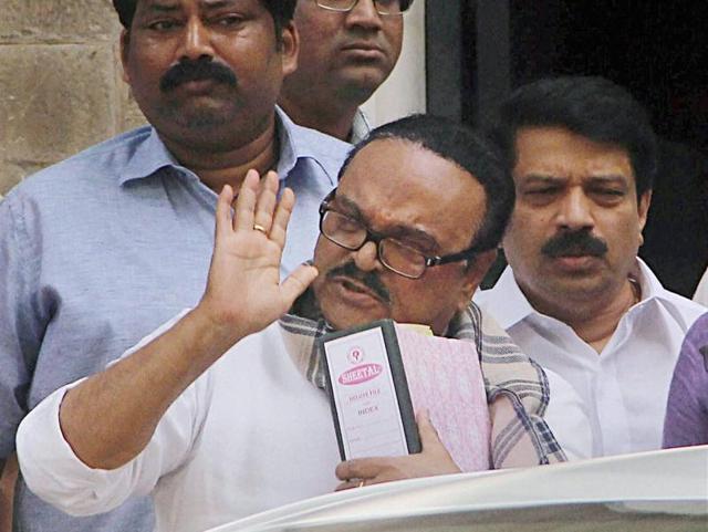 Chhagan Bhujbal appeared at the ED office in the Maharashtra Sadan corruption case, in Mumbai.
