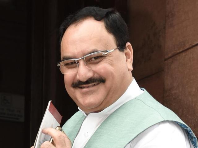 Union health minister JP Nadda outside the Parliament building in New Delhi during the budget session.