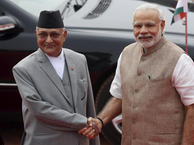 India's Prime Minister Narendra Modi with his Nepalese counterpart Khadga Prasad Sharma Oli (left) during Oli's visit to India in February this year.