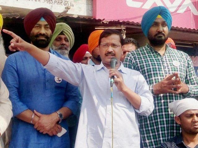 Delhi chief minister Arvind Kejriwal addressing people at Dhilwan in Punjab.