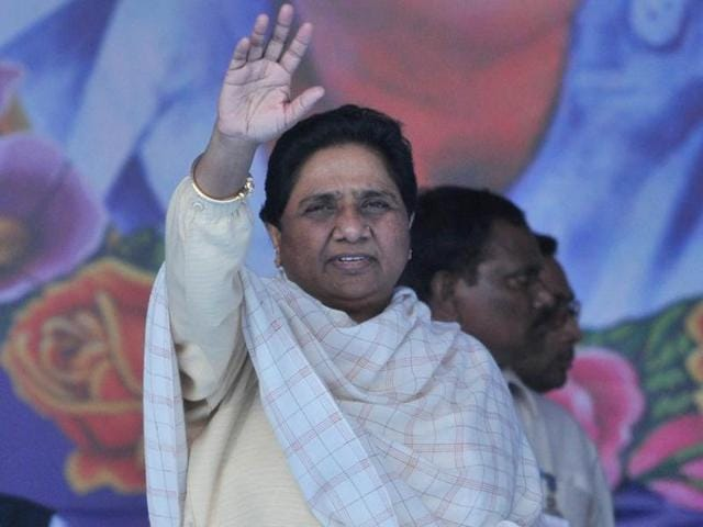 Former Uttar Pradesh chief minister Mayawati during a rally on the birth anniversary of BSP founder Kanshi Ram in Punjab on Tuesday.