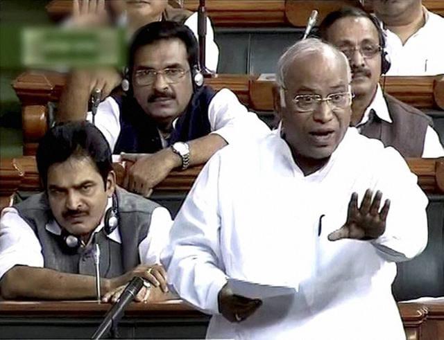 Congress leader Mallikarjun Kharge speaks in the Lok Sabha in New Delhi on Monday.