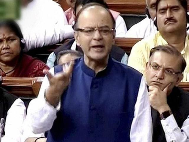 Finance minister Arun Jaitley speaks in the Lok Sabha in New Delhi on Monday.