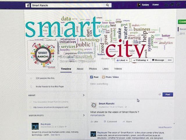 A Facebook page created by the Ranchi Municipal Corporation to seek public opinion on the proposed Smart City.