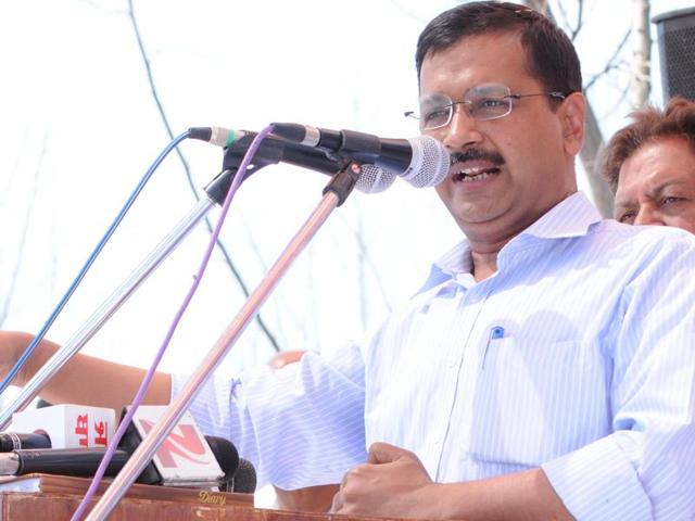 AAP convener and Delhi CM Arvind Kejriwal addressing a gathering at Pirthipur-Bunga Sahib village in Rupnagar district on Tuesday.