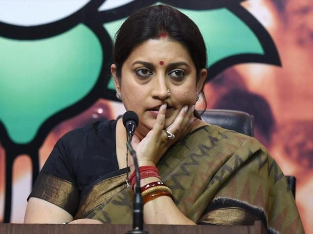 Union HRD minister Smriti Irani at a press conference at BJP headquarters in New Delhi on Tuesday.