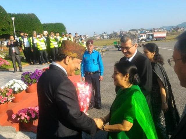 External affairs minister Sushma Swaraj is welcomed by Nepal's deputy prime minister Kamal Thapa on her arrival in Pokhara on Wednesday.
