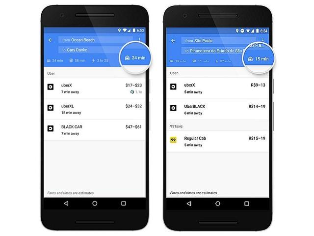 Google Maps updated with a new dedicated tab which provides information about cab services such as fare details and estimated pick up times.