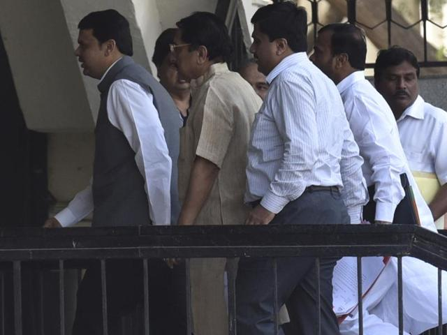 CM Devendra Fadnavis outside the Assembly on Tuesday.