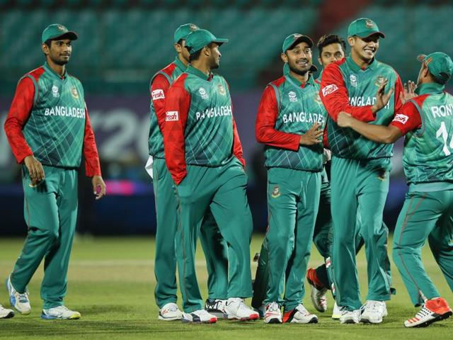 Bangladesh'players celebrate after they defeated Oman in the ICC World Twenty20.