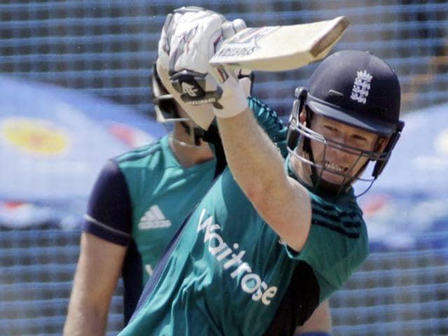 England captain Eoin Morgan bats during a practice session in Mumbai.