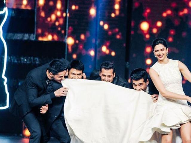 Sidharth, KapilSharma,Salman and Deepika at an awards show. (AP)