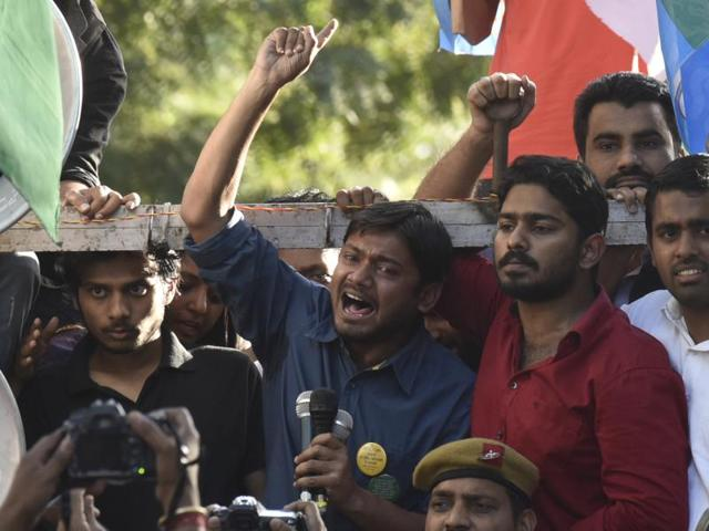 JNUSU president Kanhaiya Kumar speaks after the march from Mandi House to Parliament on Tuesday to demand the release of Umar Khalid and Anirban Bhattacharya in New Delhi.