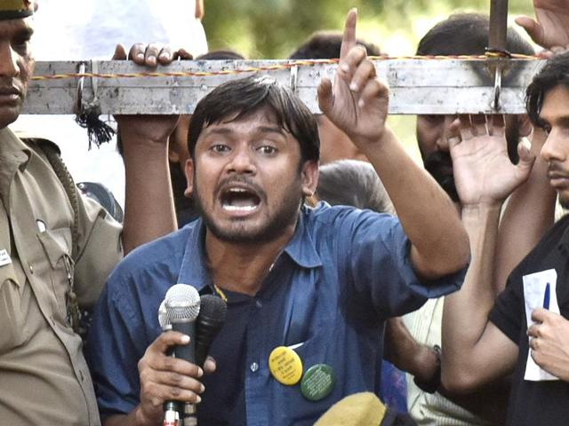 NUSU president Kanhaiya Kumar,  speaks the gathering after the march from Mandi House to Parliament.