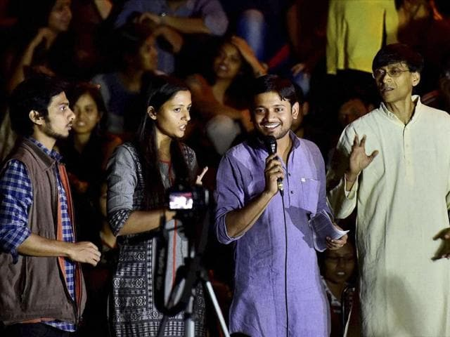 JNUSU president Kanhaiya Kumar with the union vice-president Shehla Rashid (2nd L) and Rama Naga (L) addressing students on the JNU campus in New Delhi. JNU denied reports of any students being rusticated from the university over the Feb 9 event.