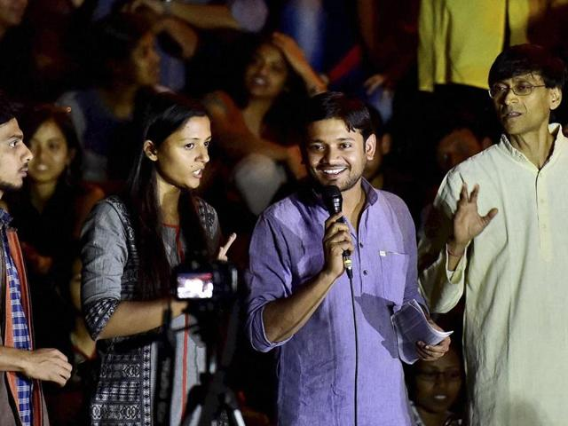 Kanhaiya Kumar JNUSU president speaks the gathering after the march from Mandi House to Parliament today to demand the release of Umar Khalid and Anirban Bhattacharya in New Delhi