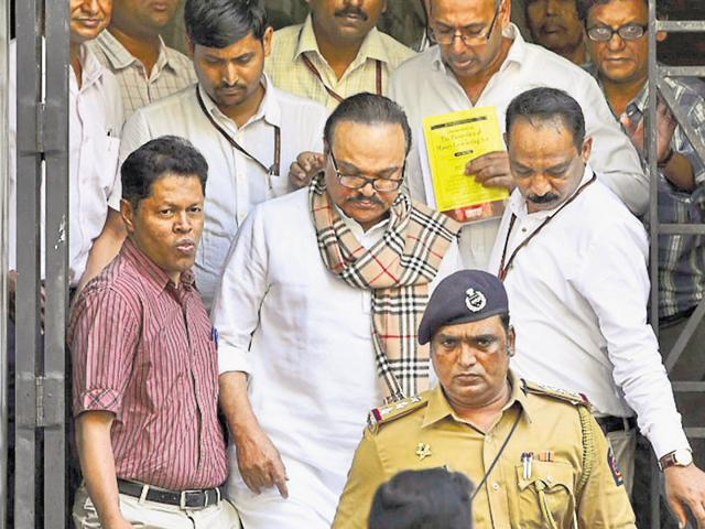 Chhagan Bhujbal leaves the ED office on his way to a sessions court in Mumbai on Tuesday.