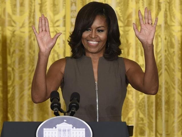 First lady Michelle Obama speaks in the East Room of the White House in Washington on Tuesday.