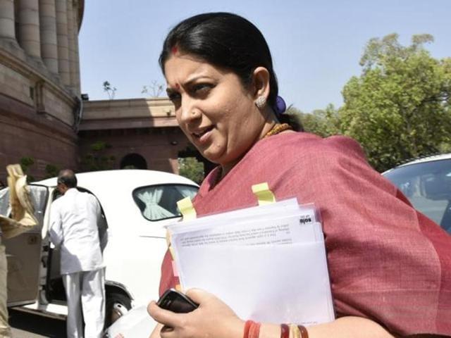 Union HRD minister Smriti Irani at Parliament House in New Delhi.