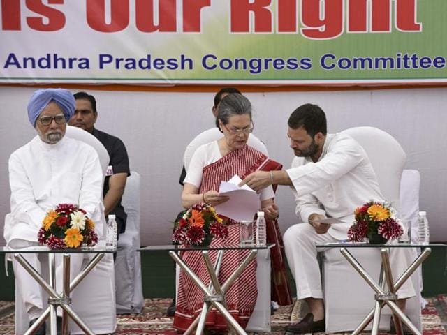 A delegation of senior Congress leaders from Andhra Pradesh led by PCC president, Dr Raghuveera Reddy  handed over one crore signatures demanding special status for Andhra Pradesh to Congress president Sonia Gandhi, vice-president Rahul Gandhi and former prime minister Dr Manmohan Singh at AICC in New Delhi.
