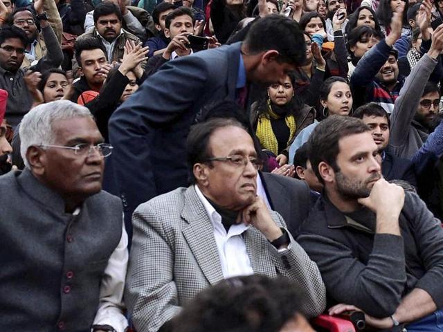 Congress vice-president Rahul Gandhi addresses students of Jawaharlal Nehru University in New Delhi after the arrest of students' union president Kanhaiya Kumar.