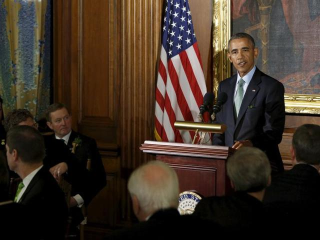 President Barack Obama speaks on divisiveness in US politics at the annual Friends of Ireland Luncheon at the US Capitol in Washington.