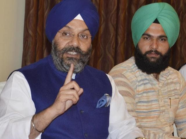 Delhi Sikh Gurdwara Management Committee (DSGMC) chief Manjit Singh GK (left) addressing a press conference in Amritsar on Wednesday.