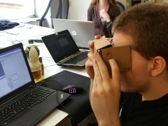 Google Cardboard is essentially a piece of cardboard folded into a box that's slightly shorter than a brick and turns into a VRheadset once you slide you phone in it.