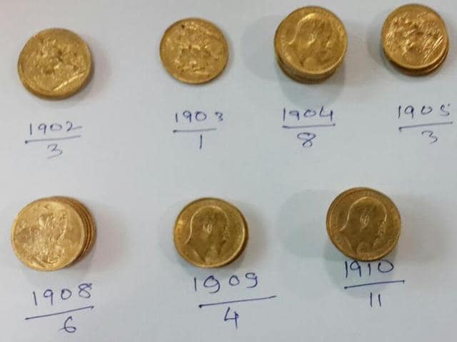 The gold coins seized by the customs department at Amritsar airport on Thursday.