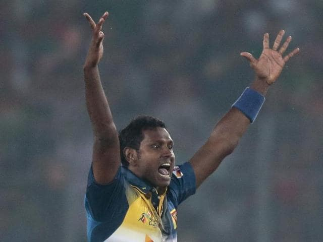 Angelo Mathews will look to restrict Afghanistan to a low total.