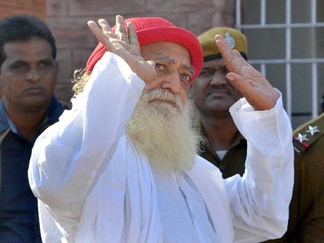 Self-proclaimed godman Asaram gestures to media persons as he returns after being produced at a Jodhpur court.