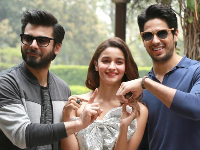 Alia Bhatt, Fawad Khan and Sidharth Malhotra during a press conference.