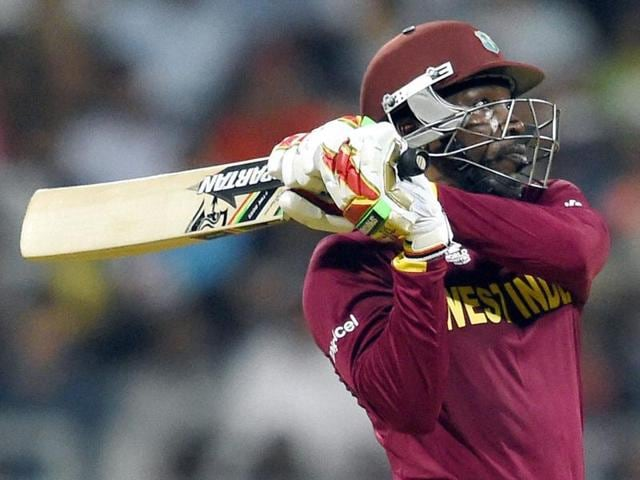 West Indies' Chris Gayle in action during a ICC WT20 match against England.