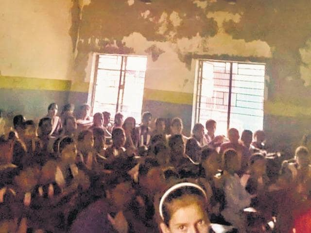 A classroom at the Government Girls Senior Secondary School near north west Delhi's Shahbad Dairy.