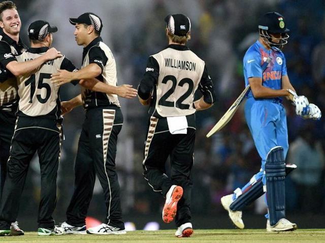 New Zealand players celebrate their victory against India during the ICC T20 World Cup.