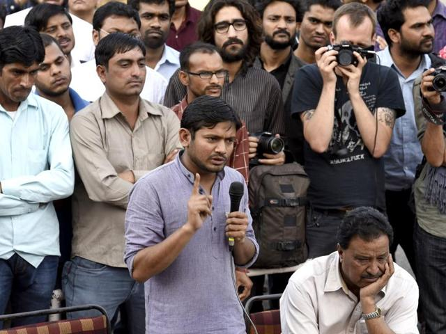 Jawaharlal Nehru University Students' Union president Kanhaiya Kumar addresses a gathering during a protest against the arrest of JNUSU students at the campus in New Delhi.