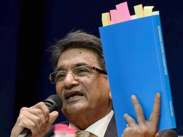 Chairman of the Lodha panel Justice RMLodha interacts with journalists in New Delhi.