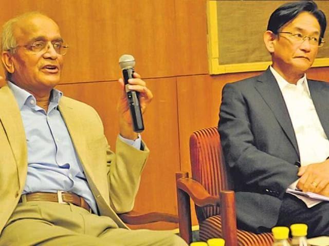 Maruti Suzuki chairman RC Bhargava (left) with the company's MD and CEO Kenichi Ayukawa in New Delhi .