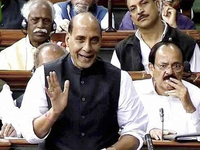 Union Home Minister Rajnath Singh speaks in the Lok Sabha in New Delhi.
