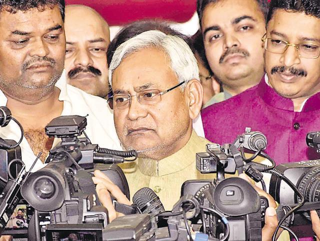 Chief minister Nitish Kumar speaking to mediapersons, in Patna on Wednesday.