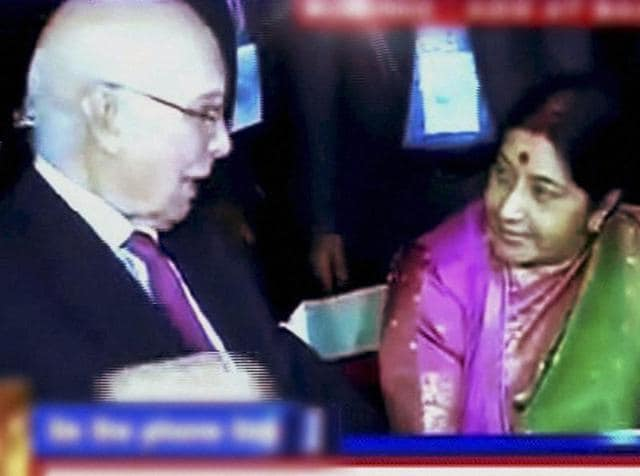 External affairs minister Sushma Swaraj with Pakistan's foreign policy chiefSartaj Aziz during a dinner at the SAARC ministerial meeting in Pokhara, Nepal on Wednesday.